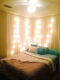 Sheer Curtains Bedroom Makeshift Headboard With Sheer Curtains And Lights For The Home
