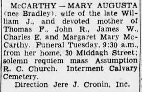Mary Augusta (Bradley) McCarthy- death notice - Newspapers.com