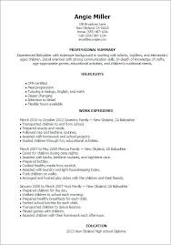 Luxury Babysitter Biography Samples Or Resume Bio Example