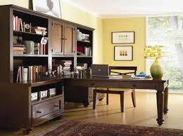 brown home office cabinets design that can be applied on the wooden floor with yellow wall add home office