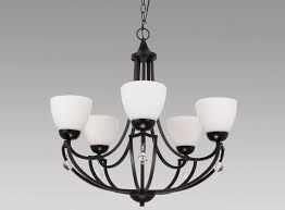5 light chandelier with white glass and crystal accents in oil rubbed bronze finish comes with 3 feet of chain bulbs sold separately