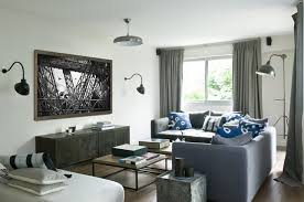 blue grey rustic decor libing room