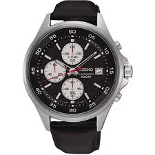 seiko men s black leather 100m chronograph watch product code sks485p1