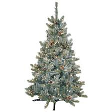 Pre-Lit Siberian Frosted Pine Artificial Christmas Tree with Clear