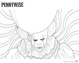 Clown Pennywise Coloring Pages Psychedelic Background Free