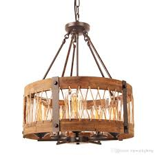 round wooden chandelier with clear glass shade retro rustic loft antique lamp edison bulb vintage pipe sconce decorative light fixtures contemporary