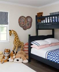black bunk beds with white and blue