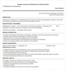 Phlebotomist Resume Stunning Phlebotomist Resume Examples New Sample Resume For Phlebotomist Free