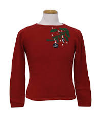Womens/Girls Ugly Christmas Sweater: -Liz Claiborne- Girls red background cotton pull over longsleeve short cropped fit ugly sweater,
