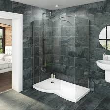 Modern Walk In Shower With Glass Door And Grey Porcelain Wall Design: Full  Size ...
