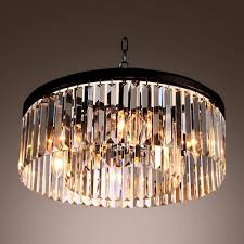 rous pendant chandelier gracefully encircled with sparkling square and rectangular crystals