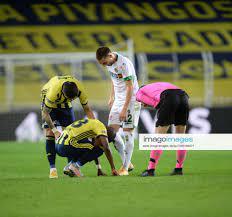 Enner Valencia of Fenerbahce and Berkan Kutlu of Alanyaspor during the  Turkish Super League football matc