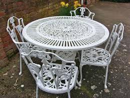 Vintage Shabby chic white cast iron garden furniture set table