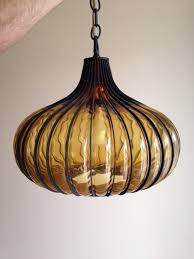 Marvelous Mid Century Modern Italian Glass Onion Caged Light Swag Lamp   EBay Retro  Lighting, Cool