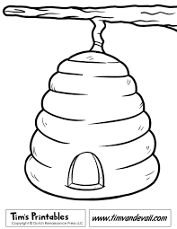Beehive Template & Beehive Coloring Page