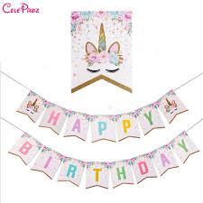 Unicorn Party Decoration <b>Banner</b> Flag <b>Happy Birthday Paper</b> ...