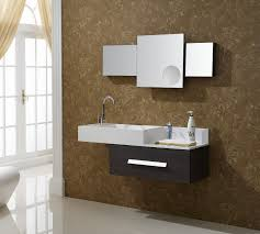 bathroom place vanity contemporary: bathroom floating black wooden vanity with white sink plus mirror placed on the brown wall