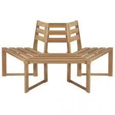 Vida Solid Acacia <b>Half Hexagonal</b> Wooden Garden <b>Tree Bench</b> ...