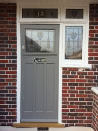 edwardian front door with encapsulated stained glass