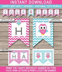 owl birthday banner template owl bunting happy birthday banner pink aqua