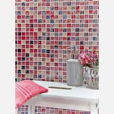 hammered pink mix glass mosaic roomset