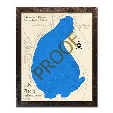 Lake Placid Fl Wood Map 3d Topographic Wood Chart
