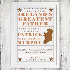 ireland s greatest father personalised poster fathers day gifts hers personalized posters and father