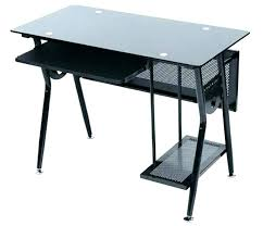 Desk glass top Computer Desk Black Pinterest Glass Desk With Metal Frame Metal And Glass Desk Glass Desks