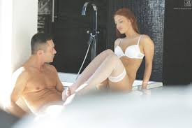Aylin Diamond in white stockings enjoys romantic sex porn pics.