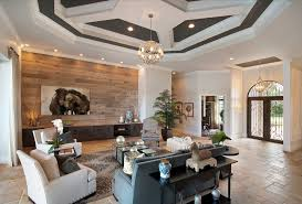 contemporary living room with brown wooden wall design