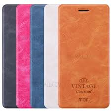 mofi vintage stand leather case for xiaomi redmi note 4 blue 2