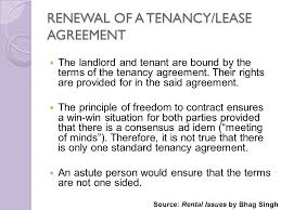 RENEWAL OF A TENANCY LEASE AGREEMENT