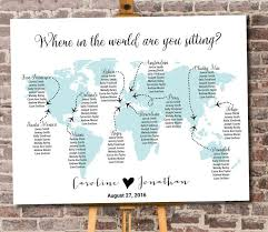 Map Seating Chart Wedding World Map Seating Chart Printable Digital Personalized File