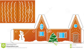 Foldable House Template Gingerbread House Folded Model Paper Stock Vector