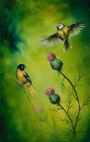 beautiful painting of flying birds on an emerald green background stock ilration ilration of
