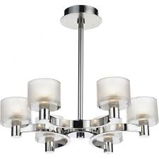 eton 6 light chandelier fitting in satin and polished chrome with glass shades