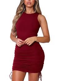 Buy FcuteL Women's Sexy Bodycon <b>Sleeveless Ruched Wrap</b> Mini ...