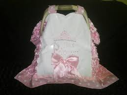 baby girl 40x40 light pink rosette polka dots car seat cover w white lace tiara applique monogram satin bow and hot set bling