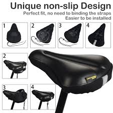 comfortable waterproof bike seat cover daway c8 soft memory foam padded leather exercise bicycle saddle cushion for men women fits spin class
