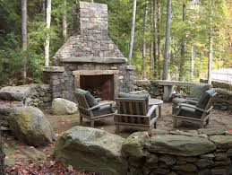 outdoor stone fireplace fire pit