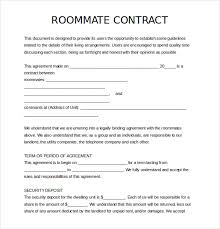 Roommate Agreement Contracts 17 Roommate Agreement Templates Free Word Pdf Format