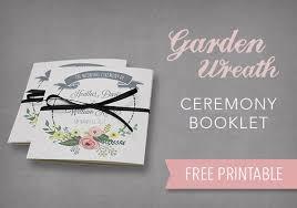 diy tutorial free printable ceremony booklet boho weddings for Wedding Booklet garden wreath ceremony booklet free printable wedding booklet templates