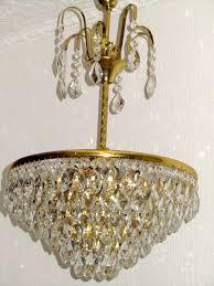 Schöne Sehr Antik Messing Bleikristall Flammig 6 Lüster