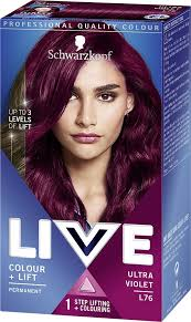 Schwarzkopf Live Intense Colour Lift Permanent L76 Ultra Violet Pack Of 3