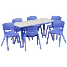 school rectangle table. Flash Furniture YU-YCY-060-0036-RECT-TBL-BLUE-GG Adjustable Rectangular Blue Plastic Activity Table Set With 6 School Rectangle