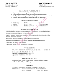 lucys resume sample for a bookbinder position sample of a college resume