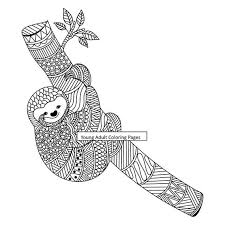 Sloth paper art print · perfect for any room of the house! Printable Adult Coloring Page Animal Sloth Coloring 12 Etsy