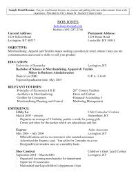 resume for retail management position sample cv for retail store resume objective for retail management position