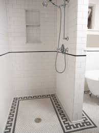 bathroom shower tile ideas traditional. Bathroom With Walk-in Shower Enclosure Tiled In White Subway Tile A Black Pencil Border And Recessed Shelves Beside The Adjustable Ideas Traditional
