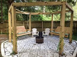 Fire Pit Swing Backyard Swing Gazebo Project 6x6 Posts And Beams Used 2x4s